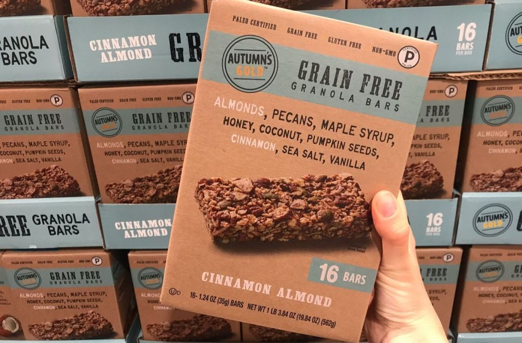 box of autumns gold grain free granola bars at costco