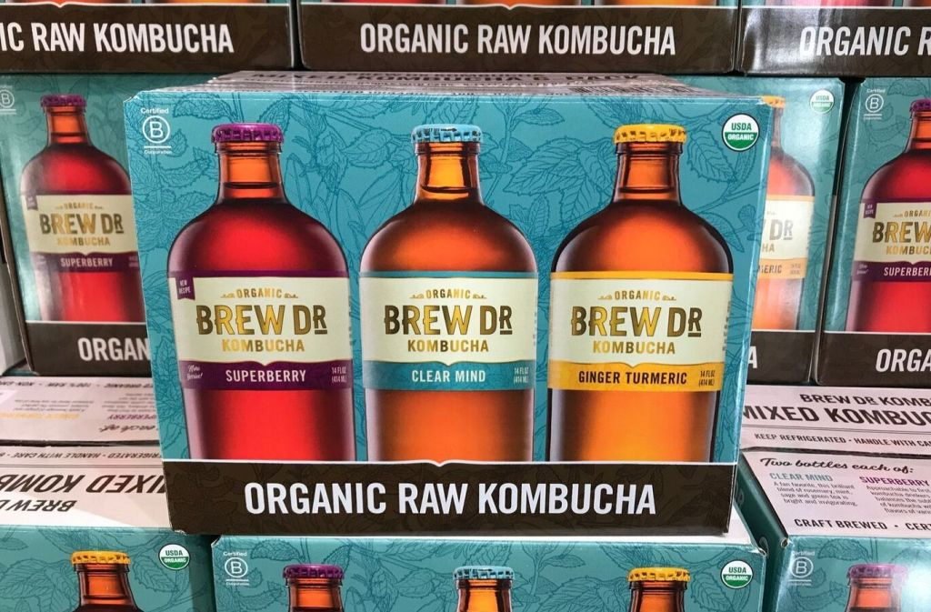 box of brew dr organic raw kombucha at costco