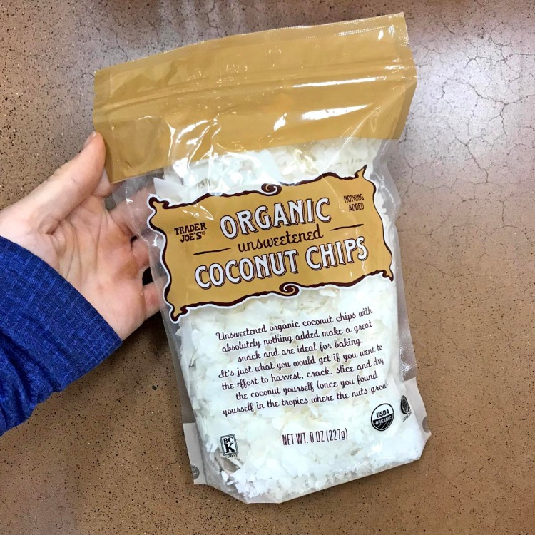 trader joe's paleo snack bag of organic coconut chips