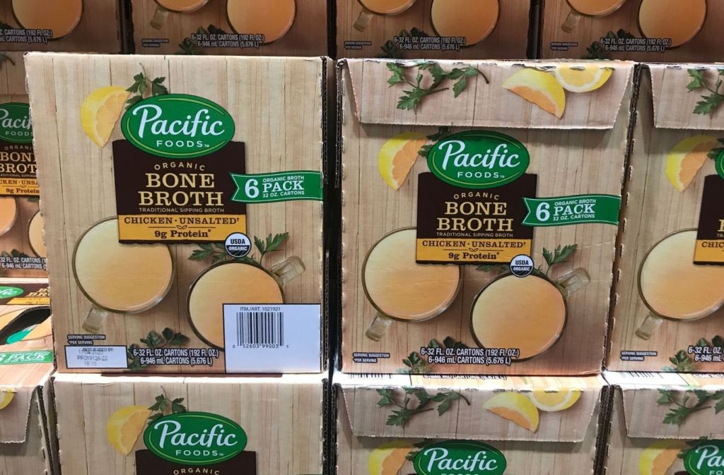 boxes of pacific foods organic bone broth at costco