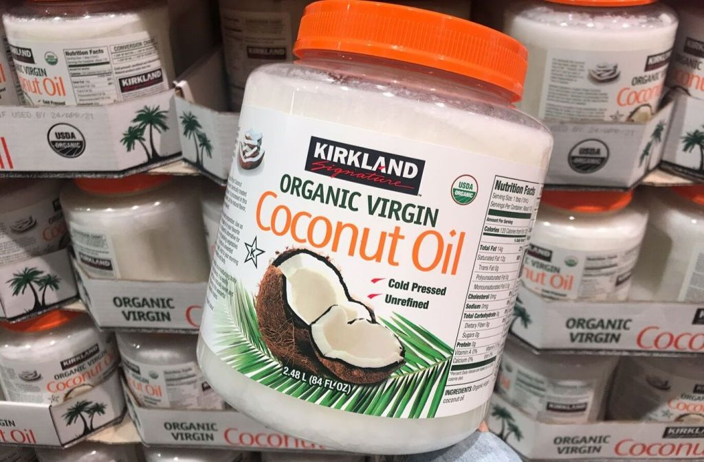 jar of kirkland signature organic virgin coconut oil at costco