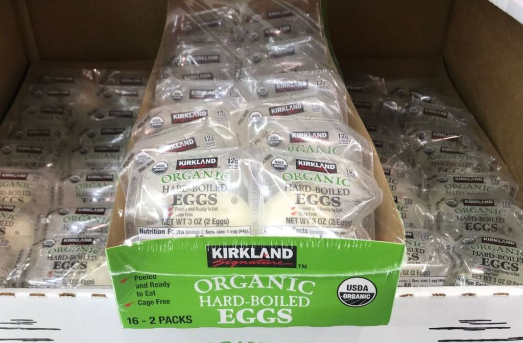 box of kirkland organic hard boiled eggs at costco