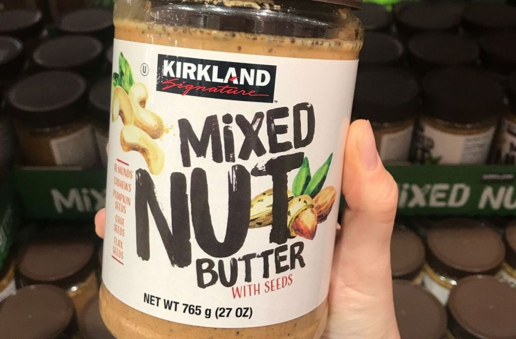 jar of kirkland signature mixed nut butter at costco
