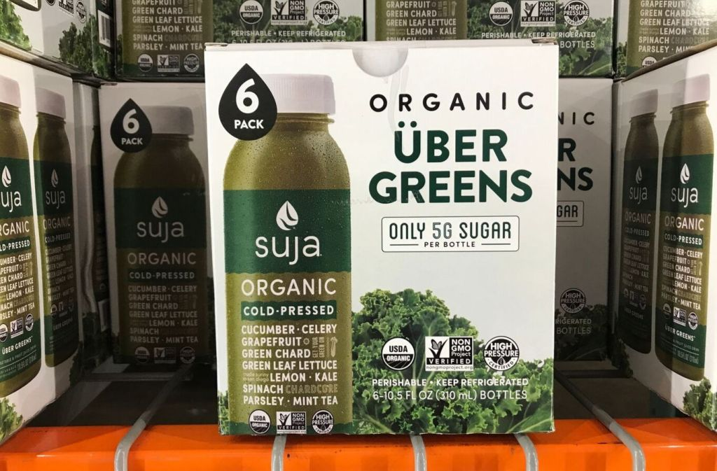 box of suja organic uber greens at costco