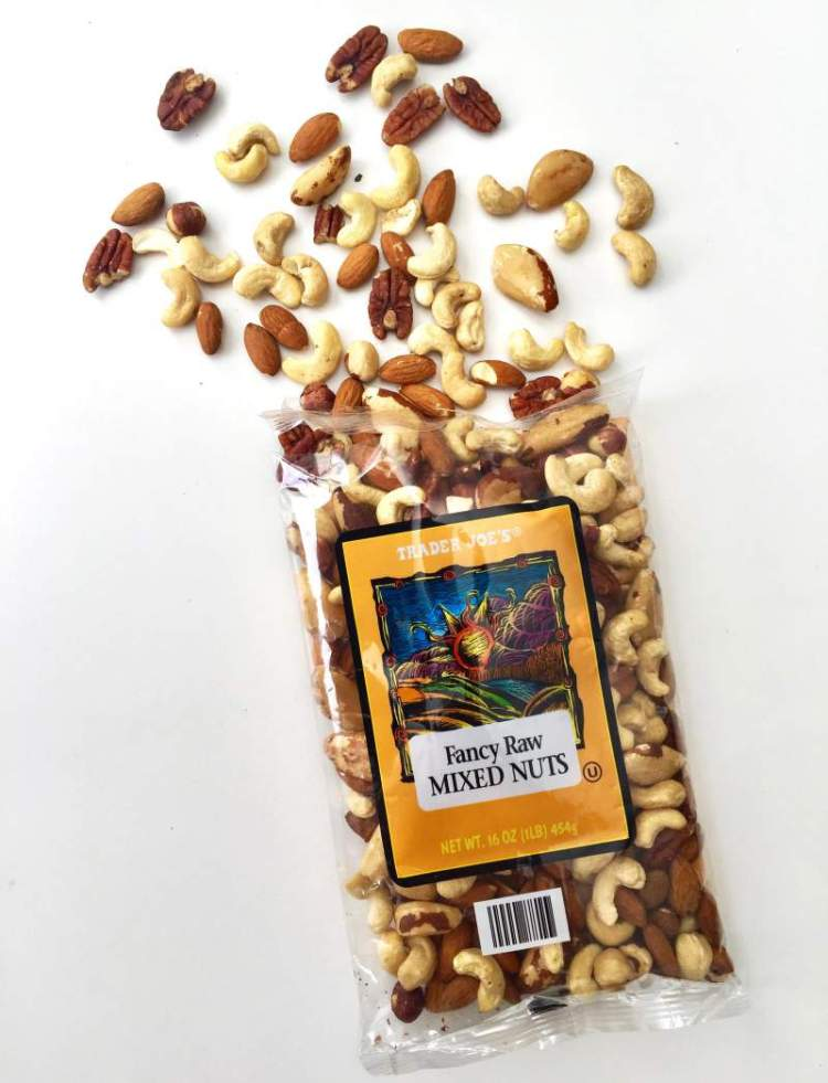 Paleo Snacks at Trader Joe's Fancy Raw Mixed Nuts