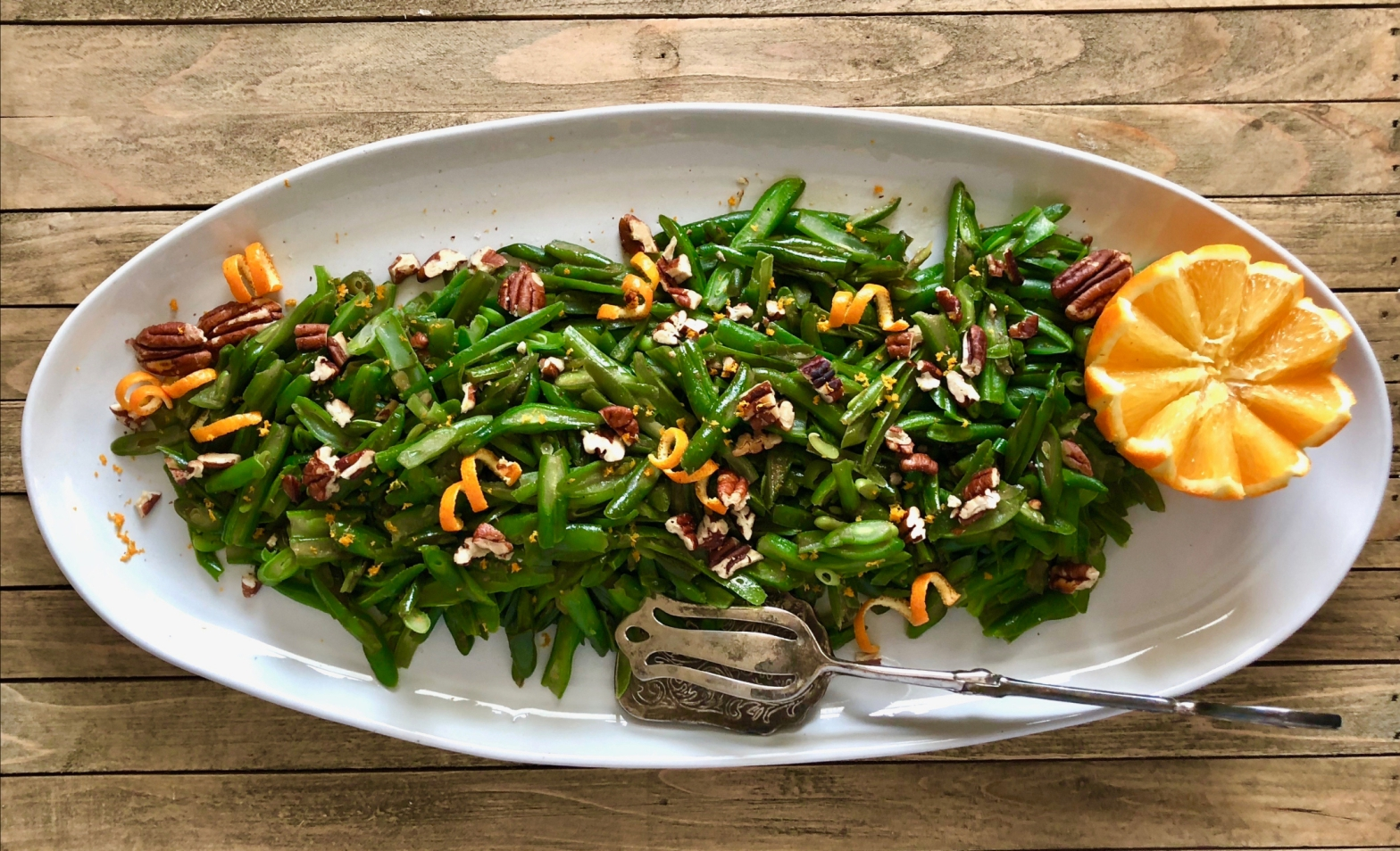 platter of citrus kissed holiday green beans