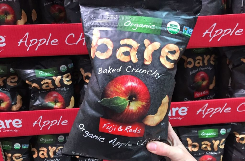 bag of bare organic apple crisps at costco