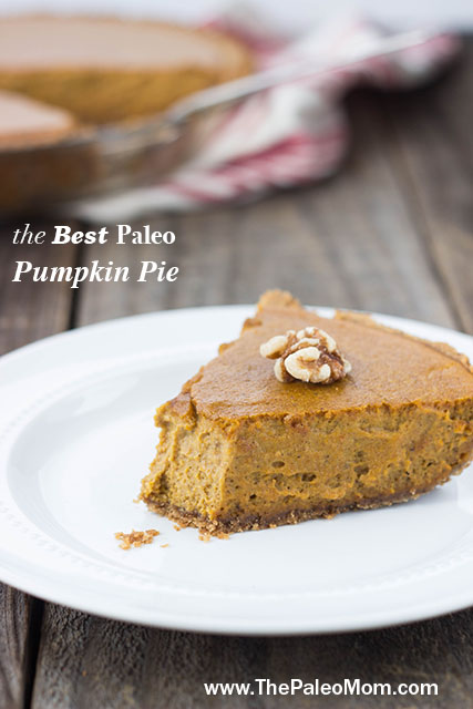 slice of paleo pumpkin pie on a white plate