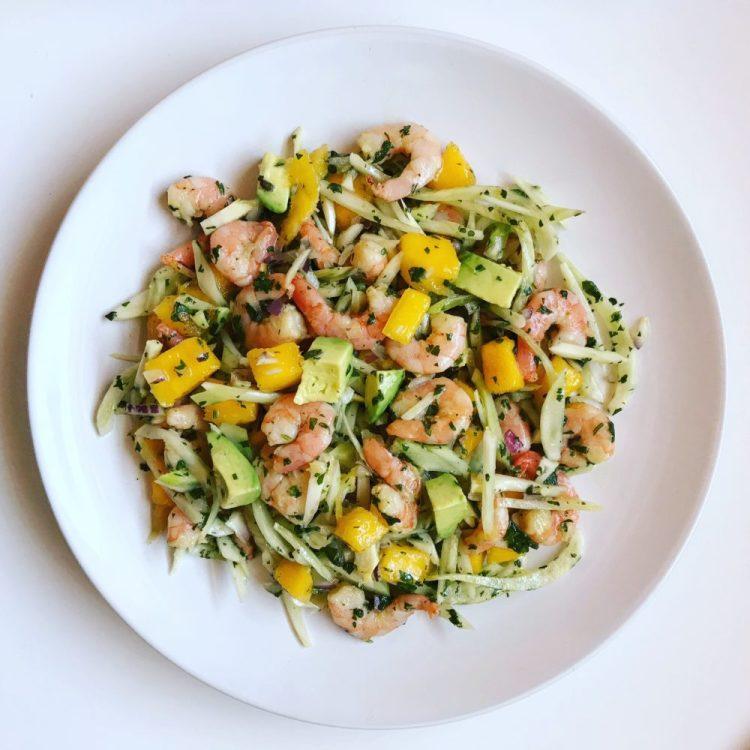 Shrimp Salad with shrimp, mango, fennel, and avocado