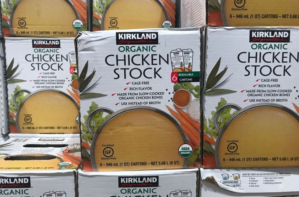 boxes of kirkland signature organic chicken stock at costco