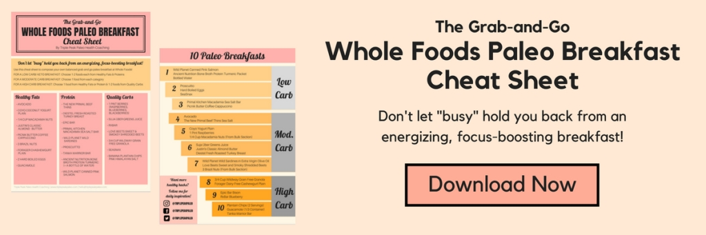 graphic banner with the grab and go whole foods paleo breakfast cheat sheet text and download now button