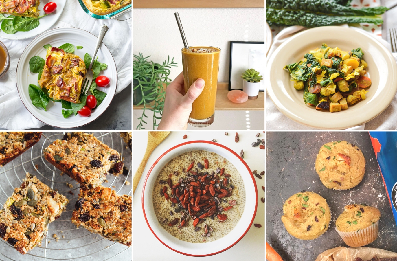six photo collage of healthy breakfast recipes