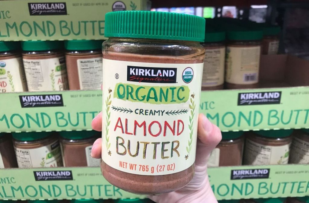 jar of kirkland signature organic creamy almond butter