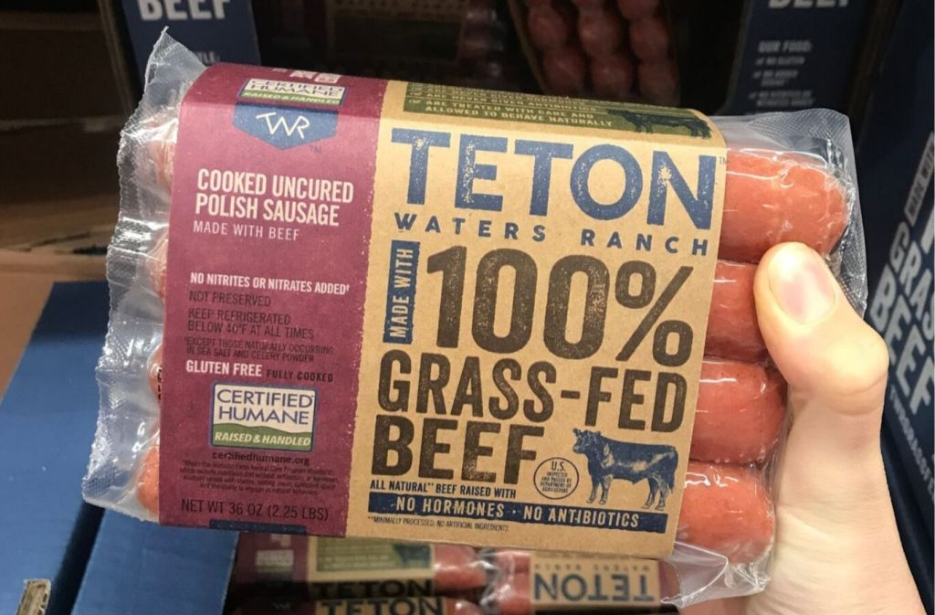package of teton waters ranch 100 percent grass-fed beef cooked uncured polish sausage
