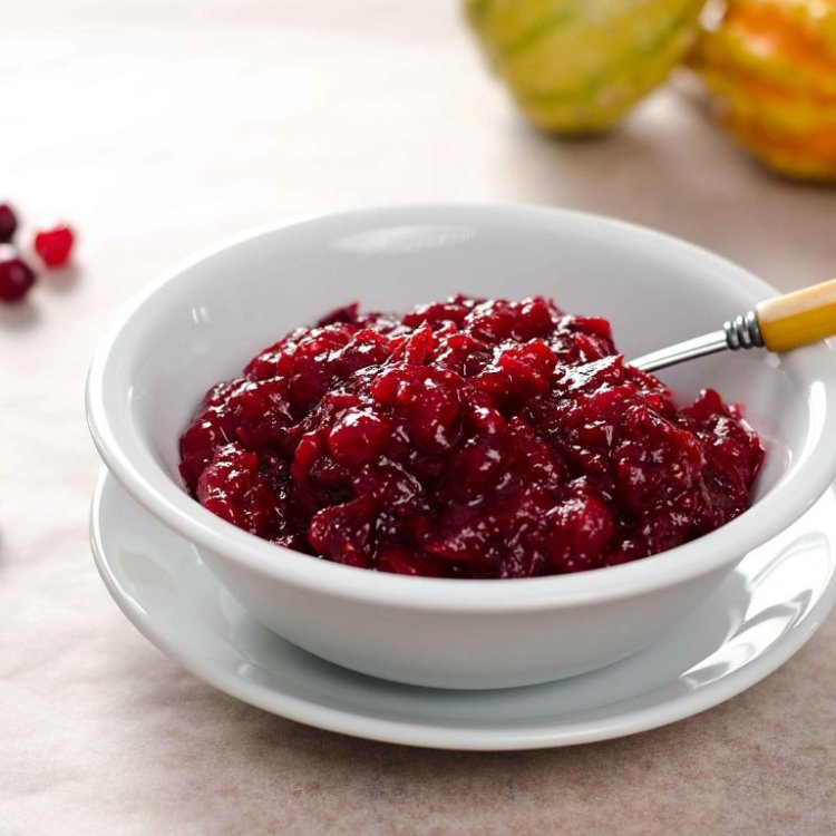 white bowl of cranberry sauce