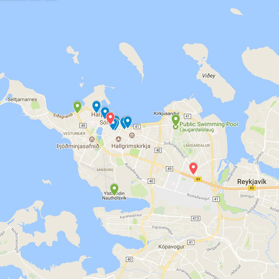 map of reykjavik iceland