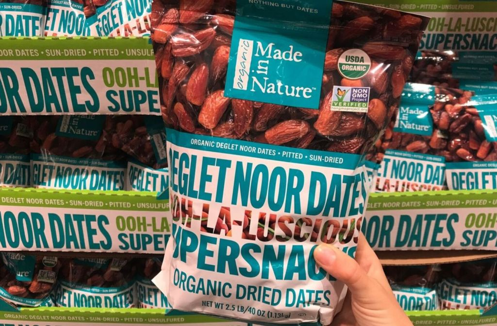 bag of made in nature organic dried dates at costco