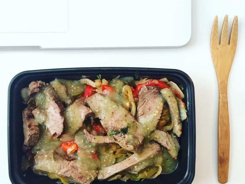 Power Supply's Steak Fajitas w/ Tomatillo Sauce