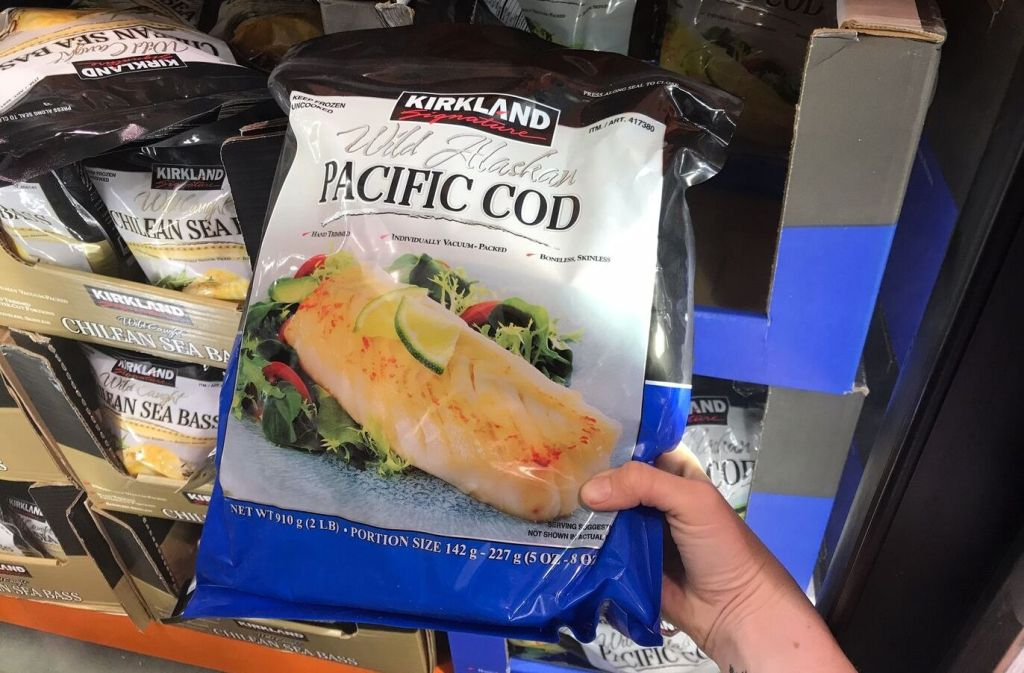 package of kirkland signature wild alaskan pacific cod