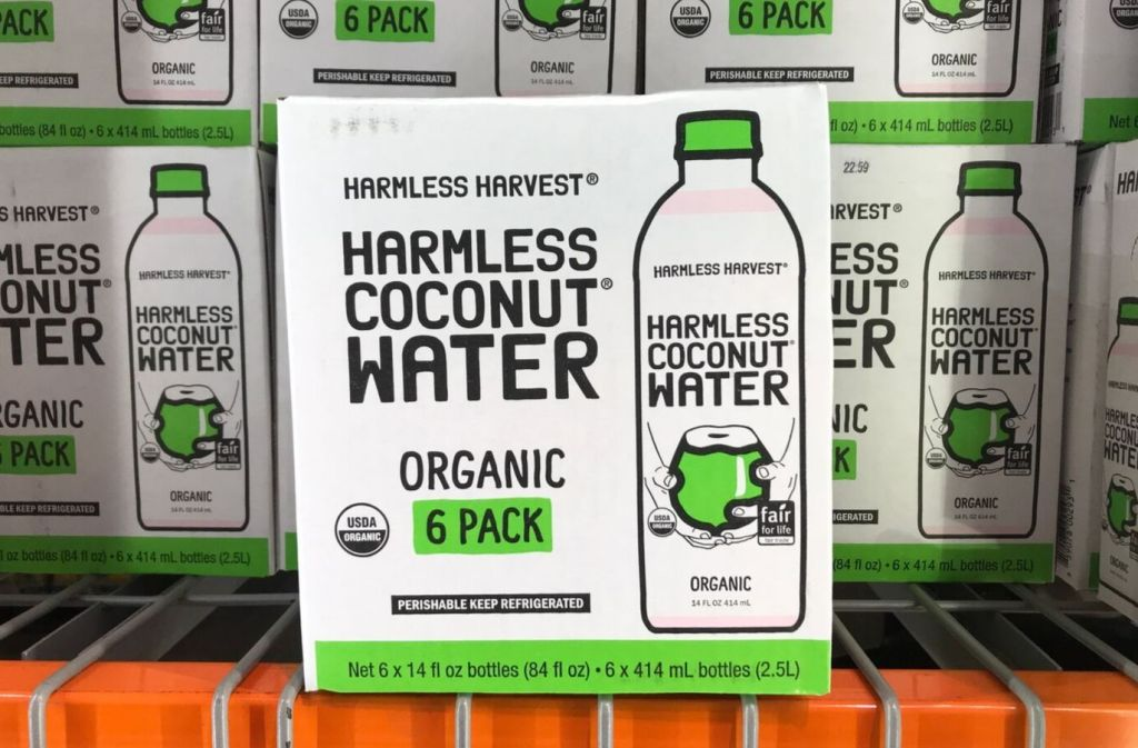 box of harmless coconut water at costco