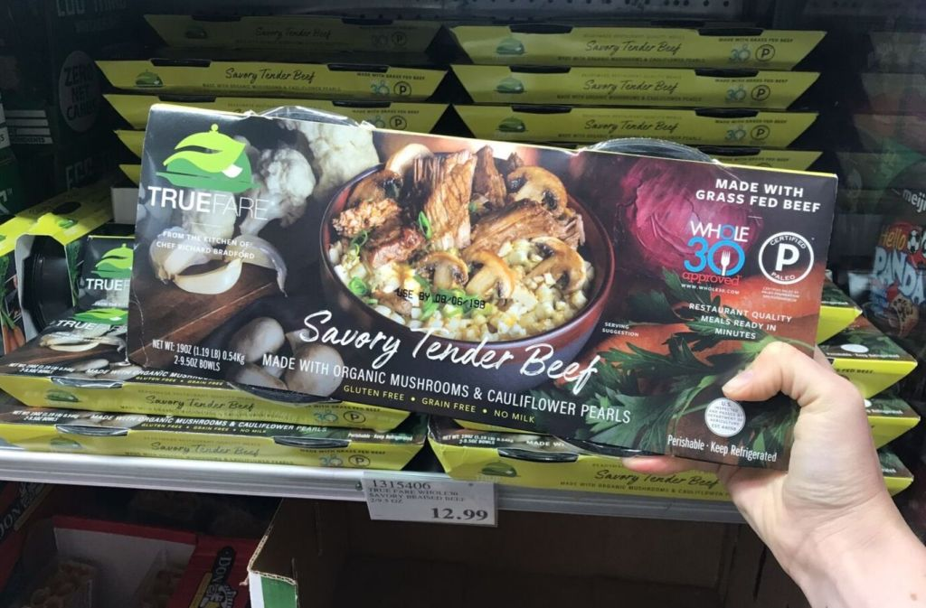 package of true fare savory tender beef frozen paleo meals