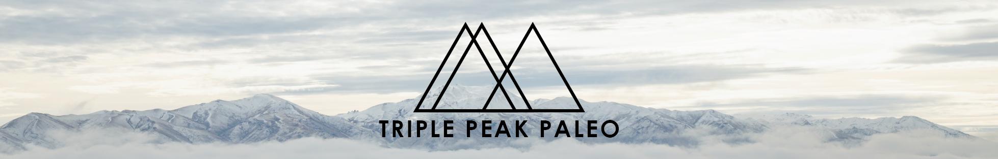 Triple Peak Paleo Logo Mountain Website Banner