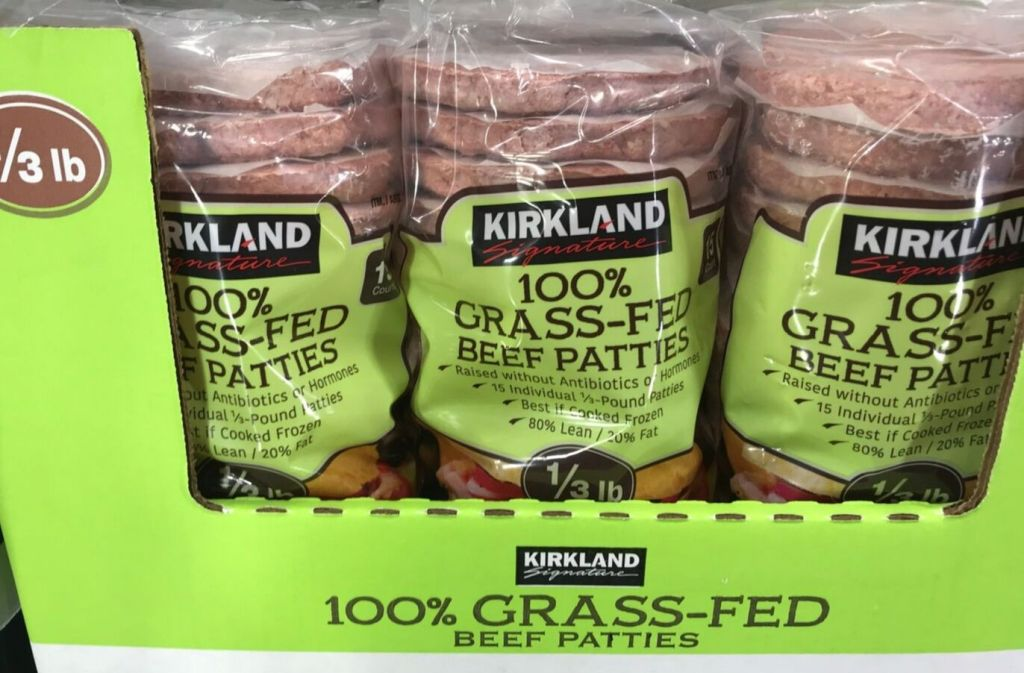 packages of kirkland signature grass fed beef patties