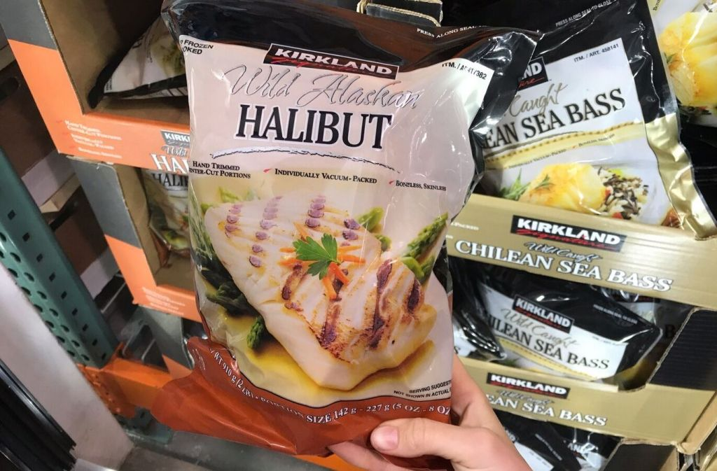 package of kirkland signature wild alaskan halibut at costco