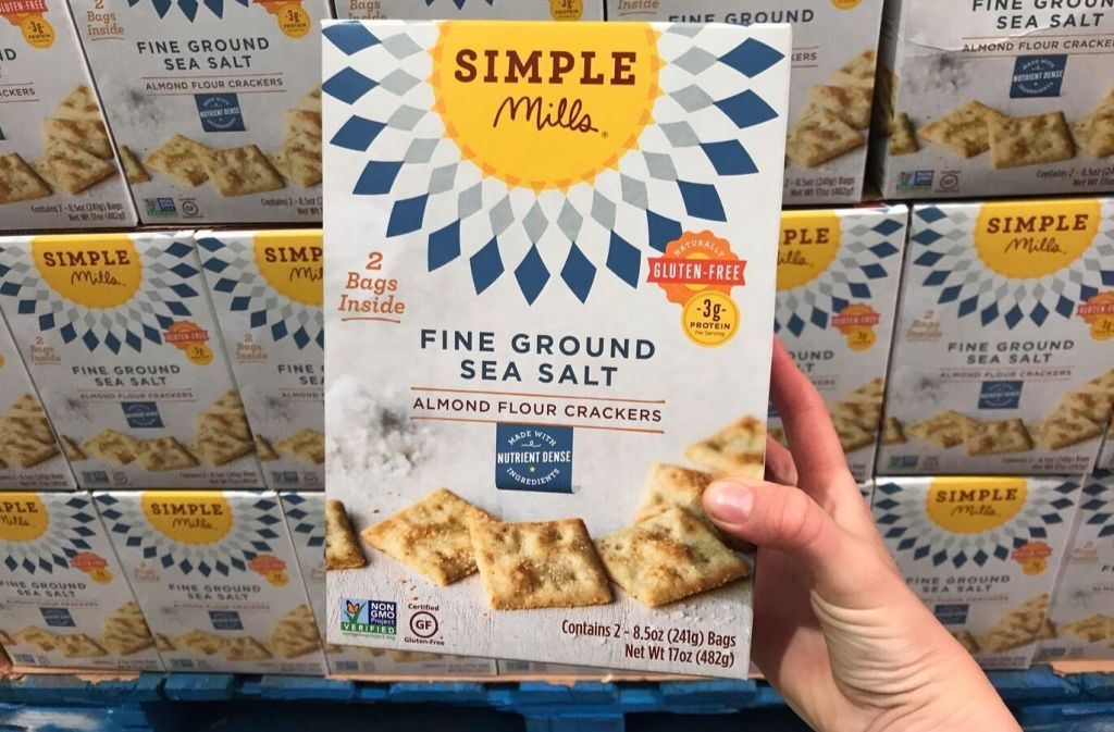 box of simple mills almond flour crackers at costco