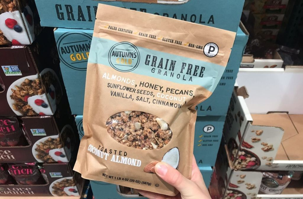 bag of autumns gold grain free granola at costco